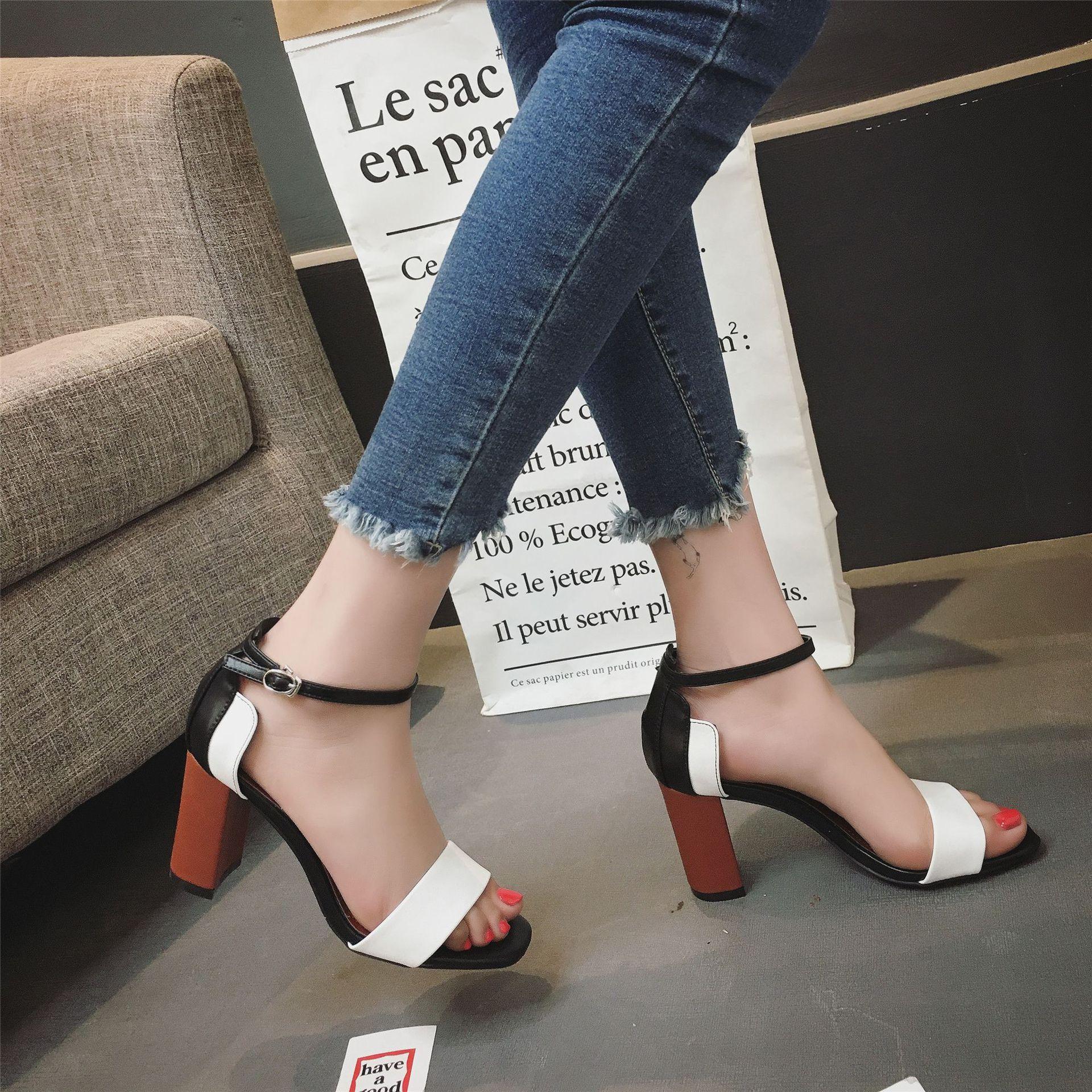 ESX 女拼色大牌时尚高跟女鞋优惠券