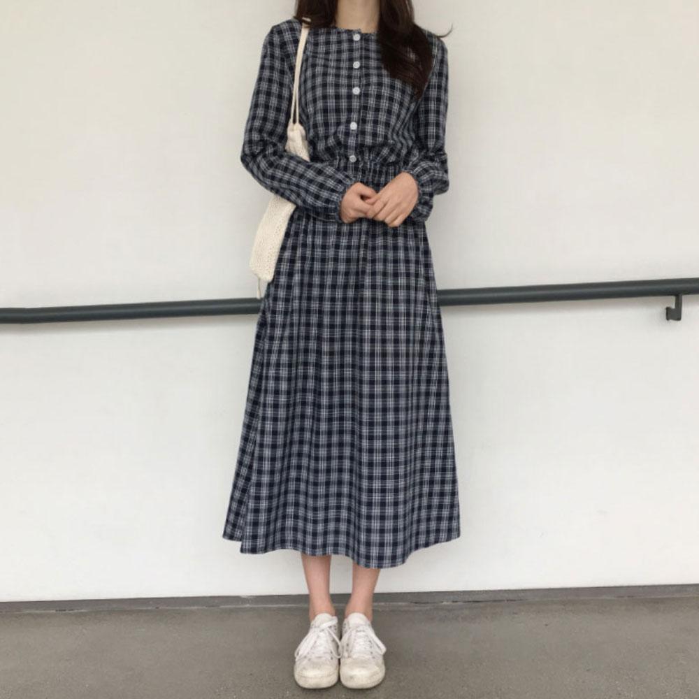 格子连衣裙女装格纹衬衫式连衣裙优惠券