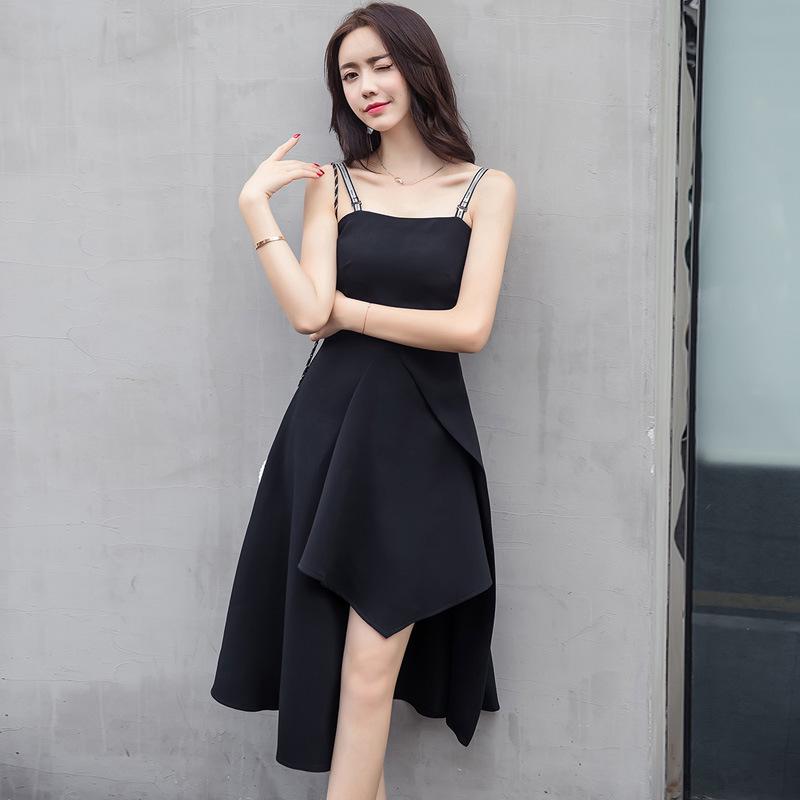 中长款修身不规则冷淡风女气质小黑裙优惠券