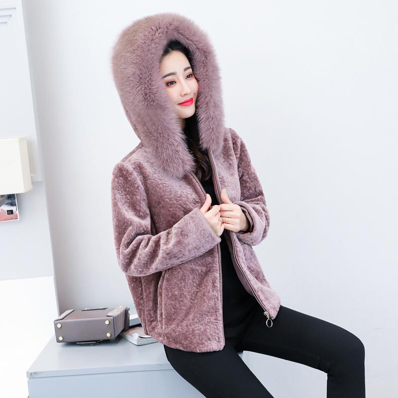 新款韩版宽松大码狐狸毛连帽羊毛大衣羊剪绒优惠券