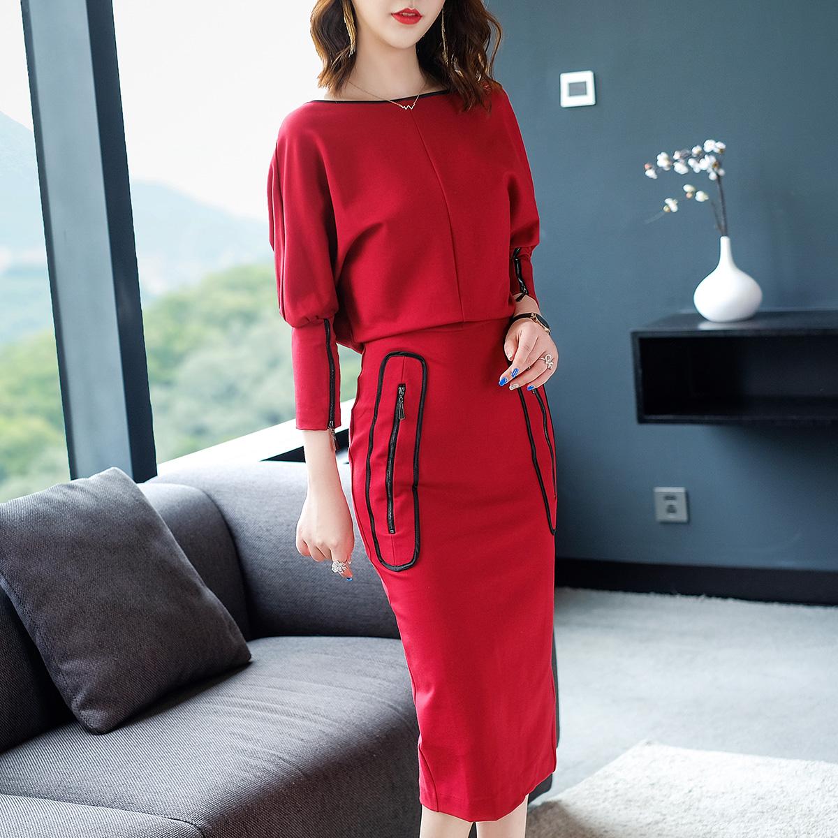 早秋季新款一字领红色长袖连衣裙中身包臀裙优惠券