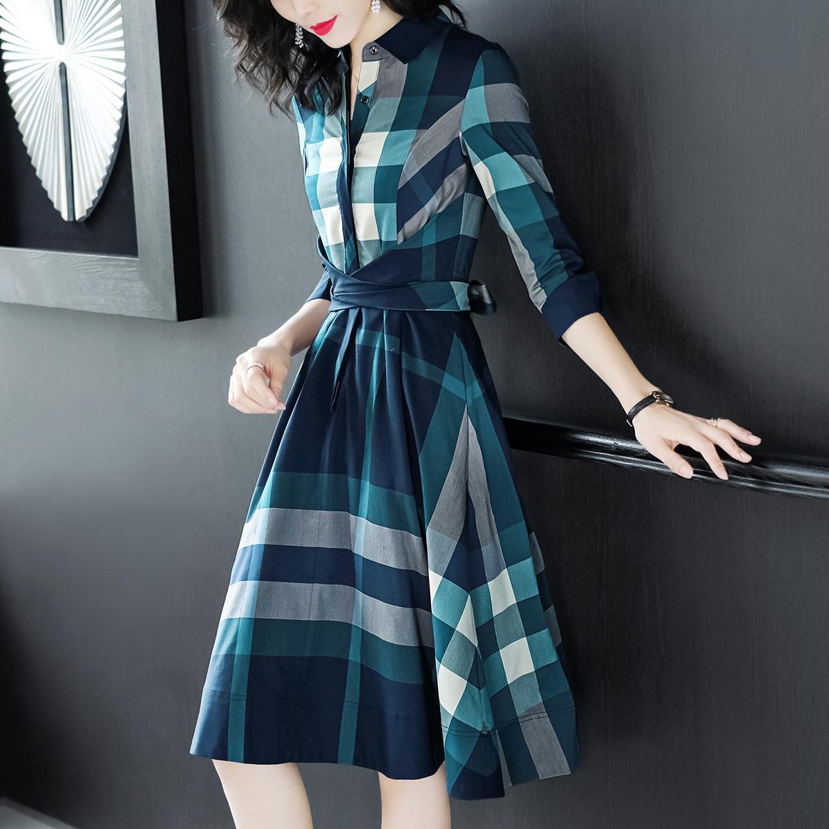 时尚连衣裙女不规则收腰通勤格子衬衫裙子优惠券