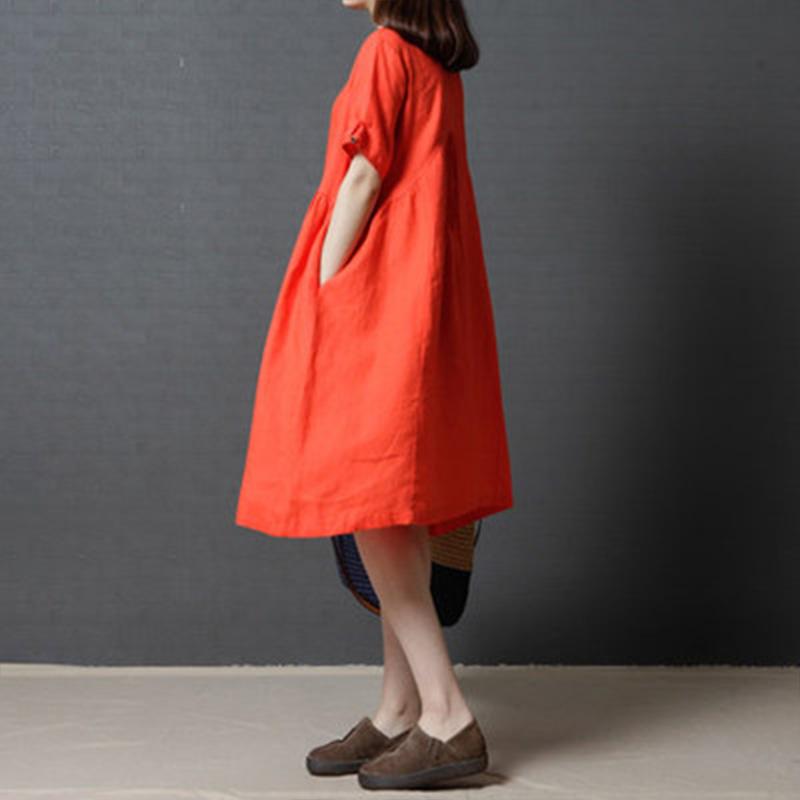 新款韩版亚麻中长裙纯色短袖棉麻连衣裙优惠券