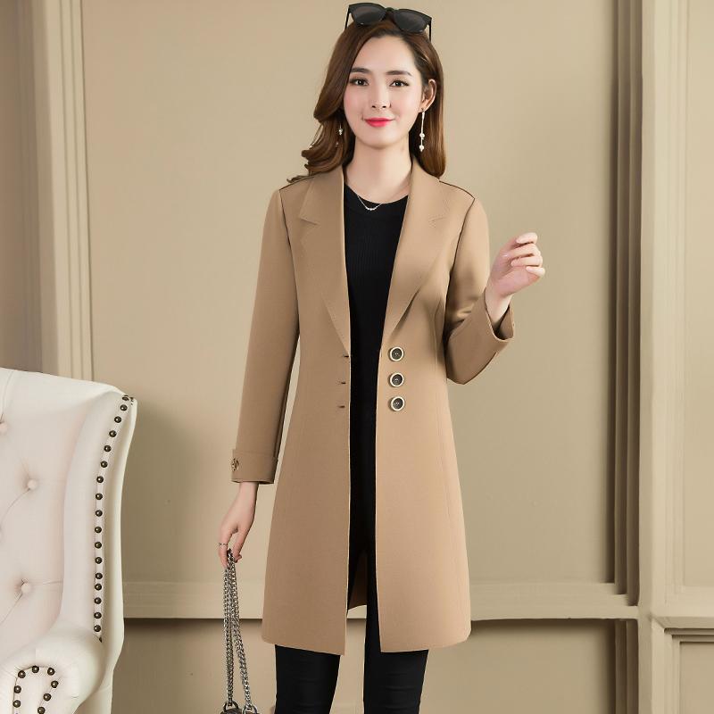 秋装女新款风衣外套中长款气质显瘦单排扣优惠券