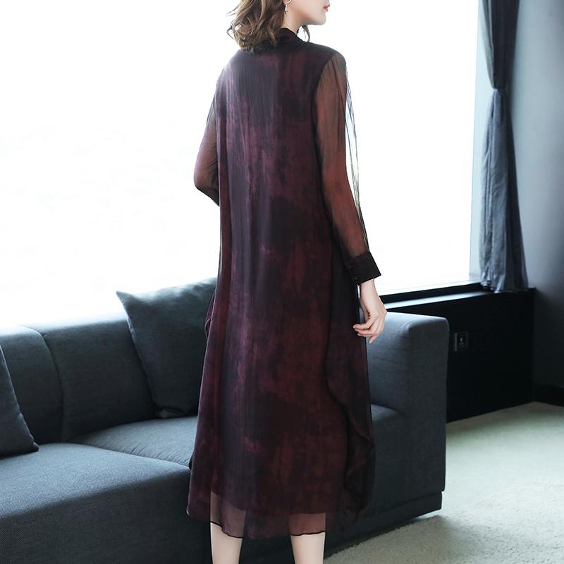 名媛V领中长款紫色裙子桑蚕丝真丝连衣裙优惠券