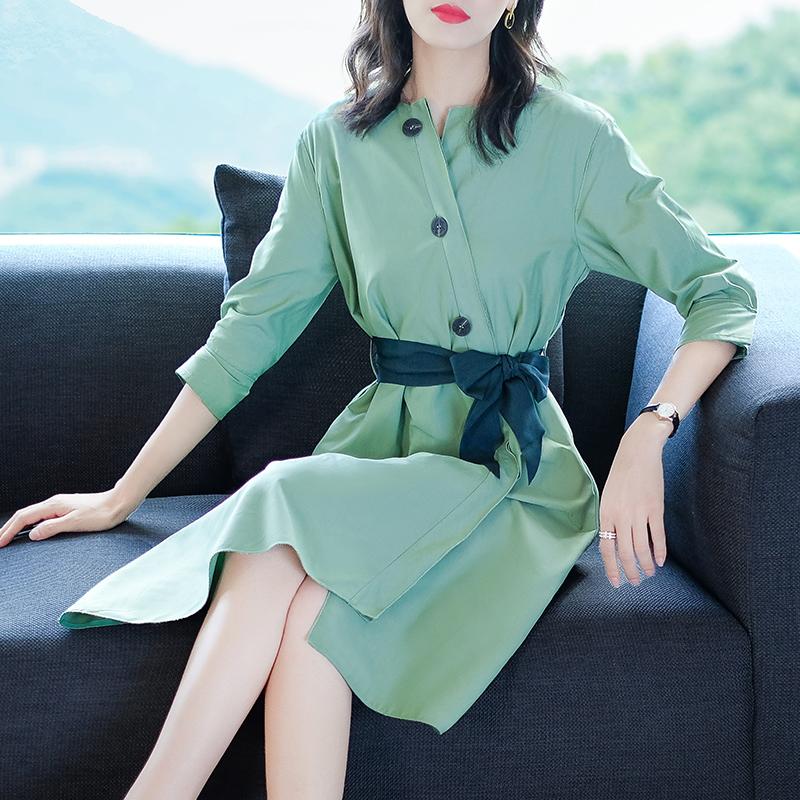 秋装新款纯色圆领七分袖收腰显瘦A字裙优惠券