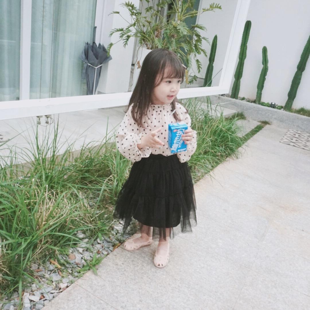 韩国女童轻薄雪纺气质波点长袖衬衫防晒罩衫优惠券