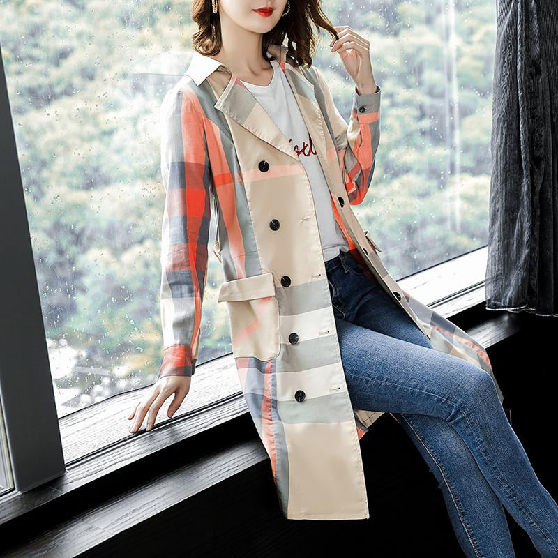 2018新款时尚格子双排扣长袖风衣收优惠券