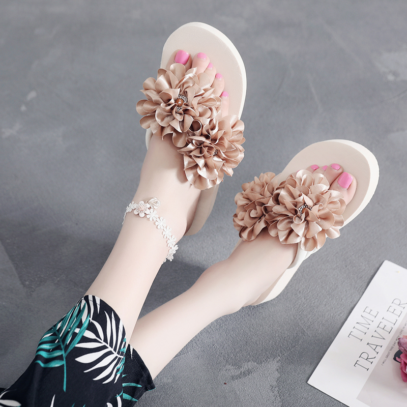 时尚沙滩鞋花朵拖鞋中跟厚底海边凉拖优惠券