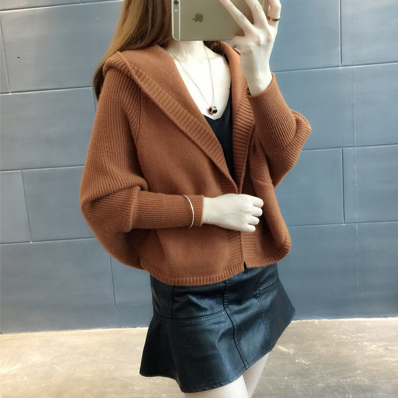 韩版潮外搭宽松秋装女连帽针织衫女开衫外套优惠券
