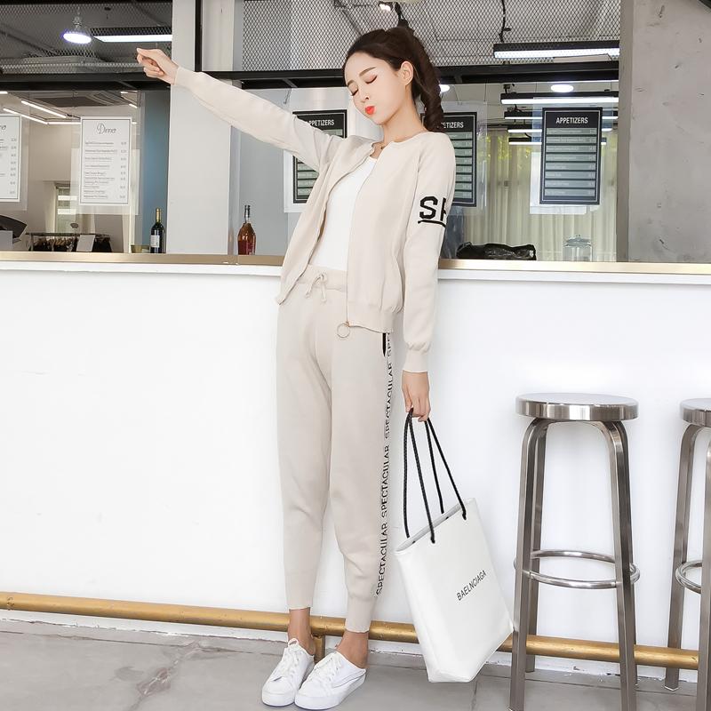 针织毛衣运动套装女开衫显瘦休闲裤两件套潮优惠券