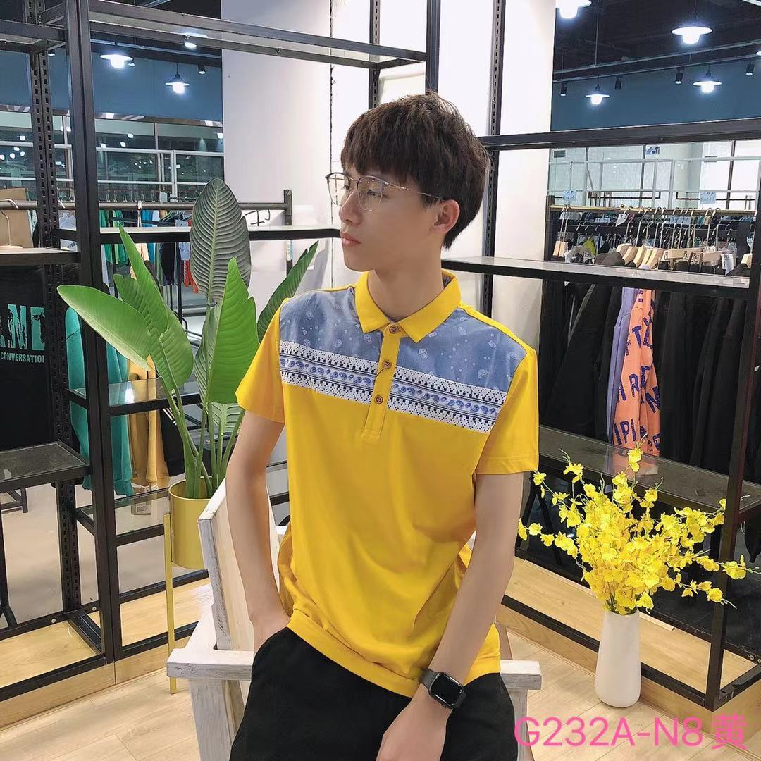 男装HL夏款短袖T恤反领G232A-N8(黄)