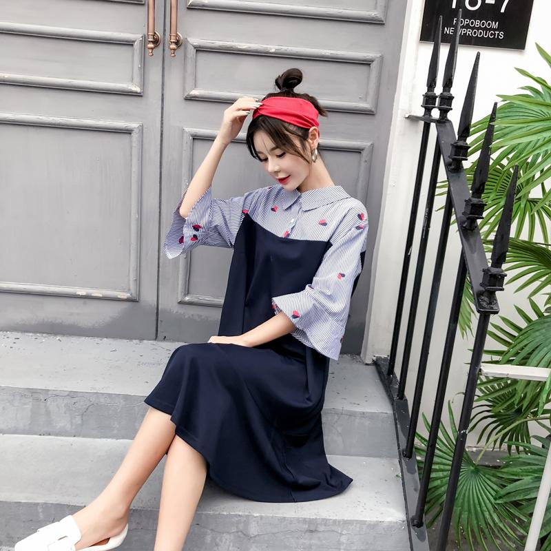 夏装新款时尚绣花条纹拼接孕连衣裙优惠券