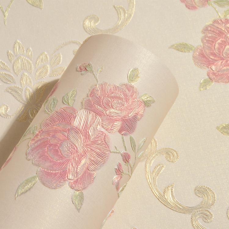 欧式无纺布壁纸3d立体浮雕卧室背景墙纸优惠券
