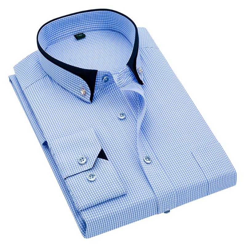 【免烫】男士格子休闲商务长袖衬衫 条纹工装衬衣优惠券