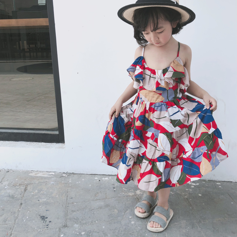 韩国定制女童度假风吊带裙彩色树叶连衣裙优惠券