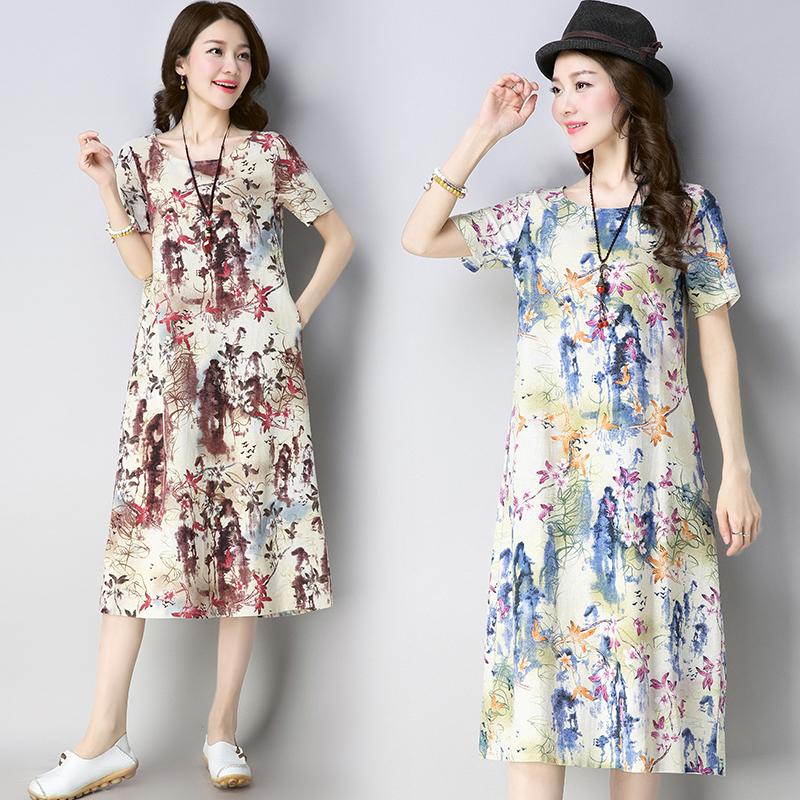 女夏季民族风亚麻长裙宽松中长款棉麻连衣裙优惠券