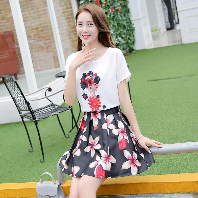 时尚套装两件套印花雪纺裙显瘦连衣裙优惠券