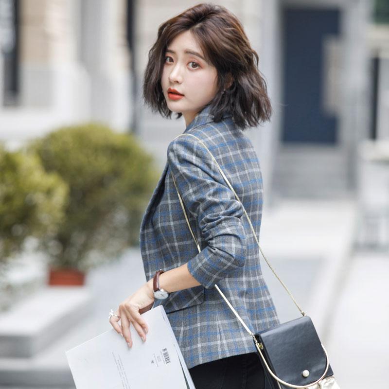 2018秋装新款时尚女装英伦韩版格子西服优惠券