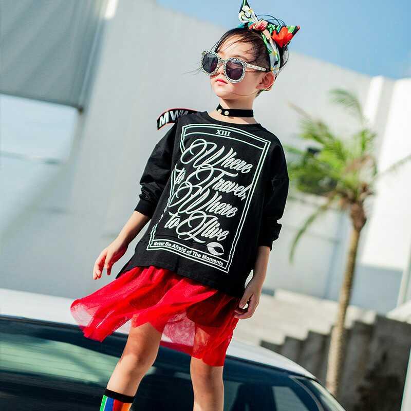 韩版时尚中大童卫衣拼接假两件长袖裙子优惠券