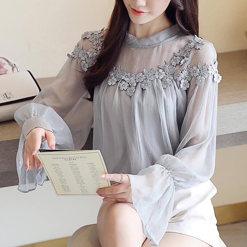 花边拼接飘逸宝石灰雪纺衫8802优惠券