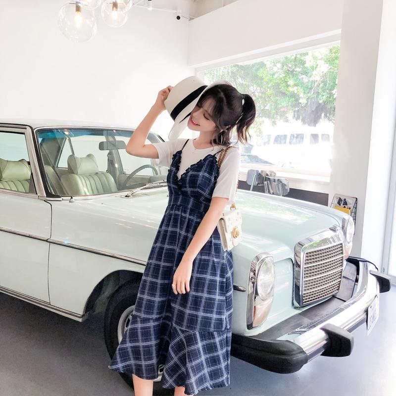 新款韩版T恤+气质格子背带裙孕妇装两件套优惠券