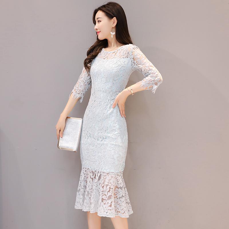 气质蕾丝裙修身包臀鱼尾裙连衣裙女圆领优惠券